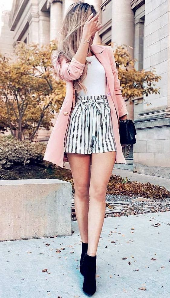 2019 Fashion Outfit Ideas – Pink jacket with striped shorts #outfitswithshorts