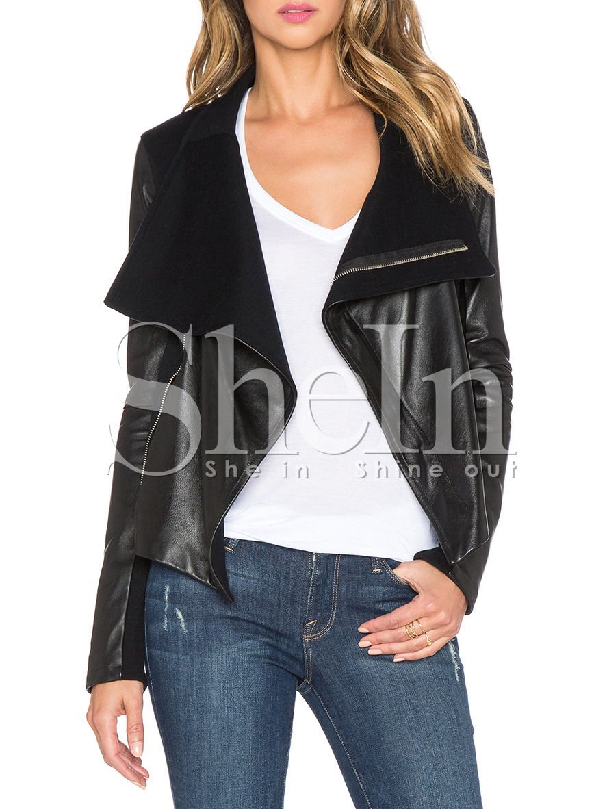 Black Long Sleeve Zipper Jacket SheIn(Sheinside) Black