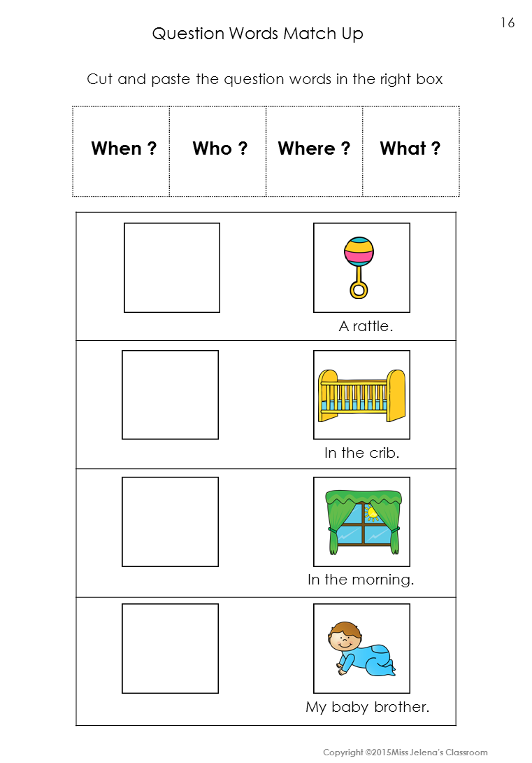 Question Words Matching Set Special Education Worksheets And