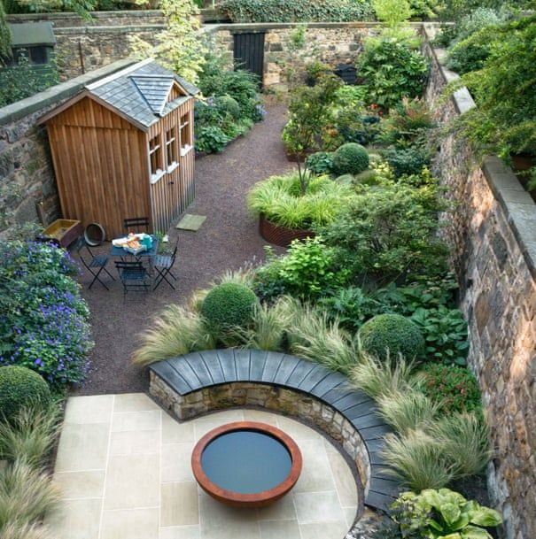 How to handle a long, narrow garden is part of Narrow garden, Tropical garden design, Unique garden decor, Small garden design, Garden design layout, Contemporary garden - This Edinburgh terrace has it all patio, veg patch, raised beds, seating and shed