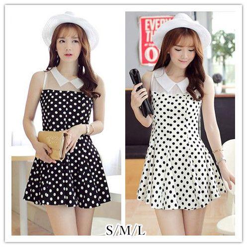 S/M/L Black/White Dolly Dots Summer Dress SP152418