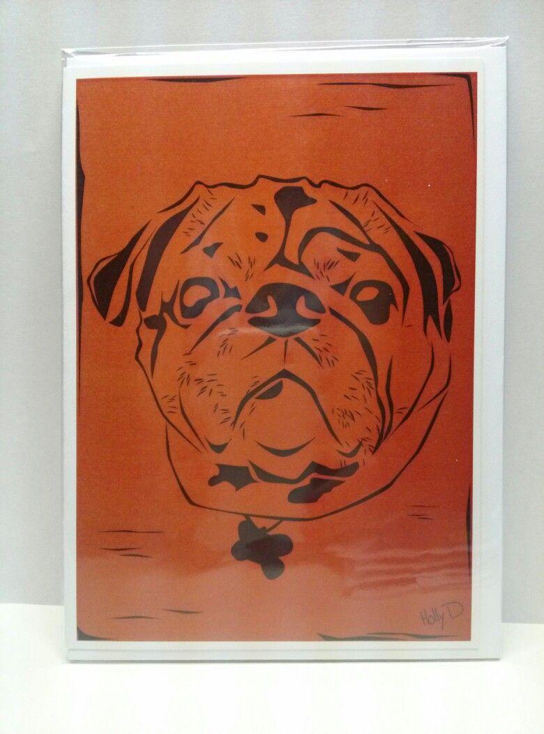 Pug greeting card 5x7 by #hollyddesigns #pug #dog #greetingcard visit Facebook.com/hollyddesigns
