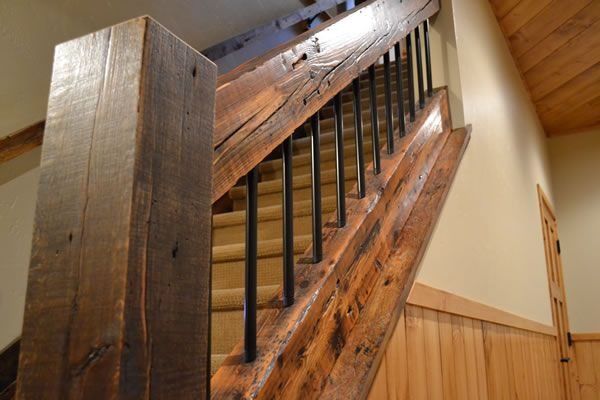 Reclaimed Wood Timbers Enterprise Wood Products Rustic Stairs   Rustic Wrought Iron Stair Railings   Simple   House   Cabin   Iron Baluster   Contemporary