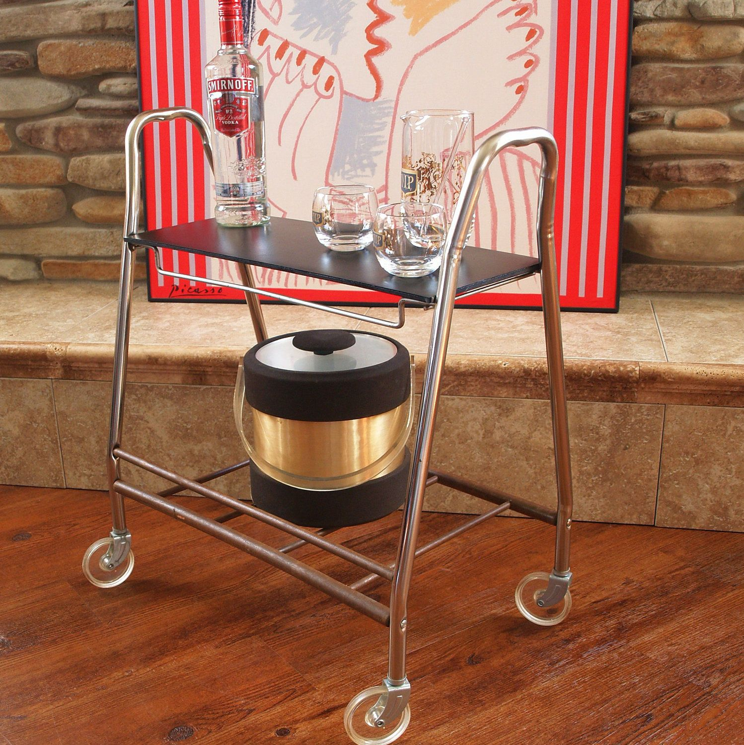 50s MID CENTURY TV Cart Retro Vintage Rolling Metal Cart With Lucite Wheels  And 2 Shelves
