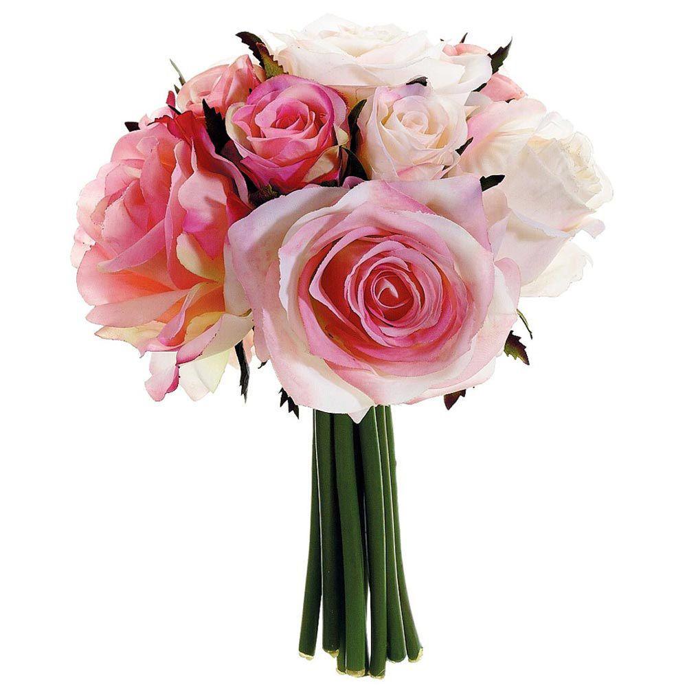 Pink Soft Roses Bridal Bouquet Handtied Silk Wedding Flowers