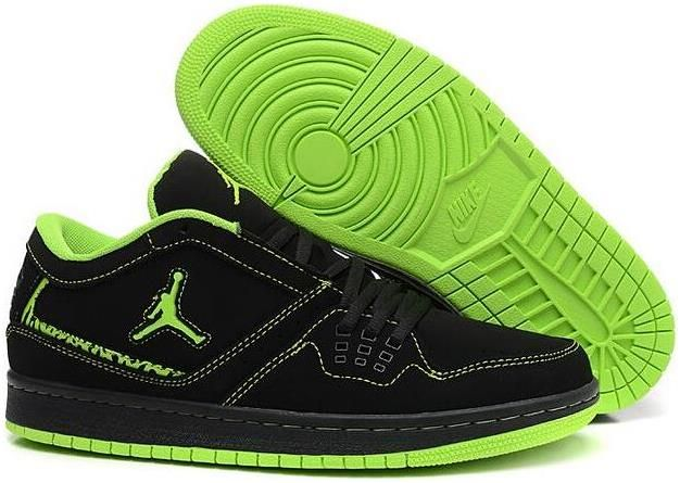 pretty nice 368ac bd8ad 2015 New Air Jordan 1 Flight Low Black Green Mens Shoes Nike AJ Sneakers