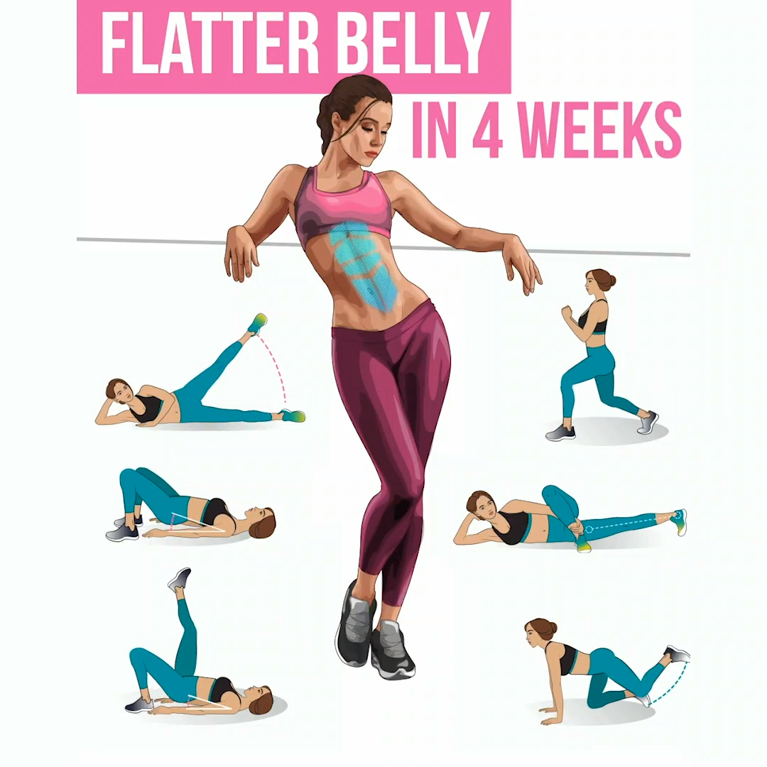 Get Flatter Belly Just in 4 Weeks with Easy Exercises at Home #healthandfitness