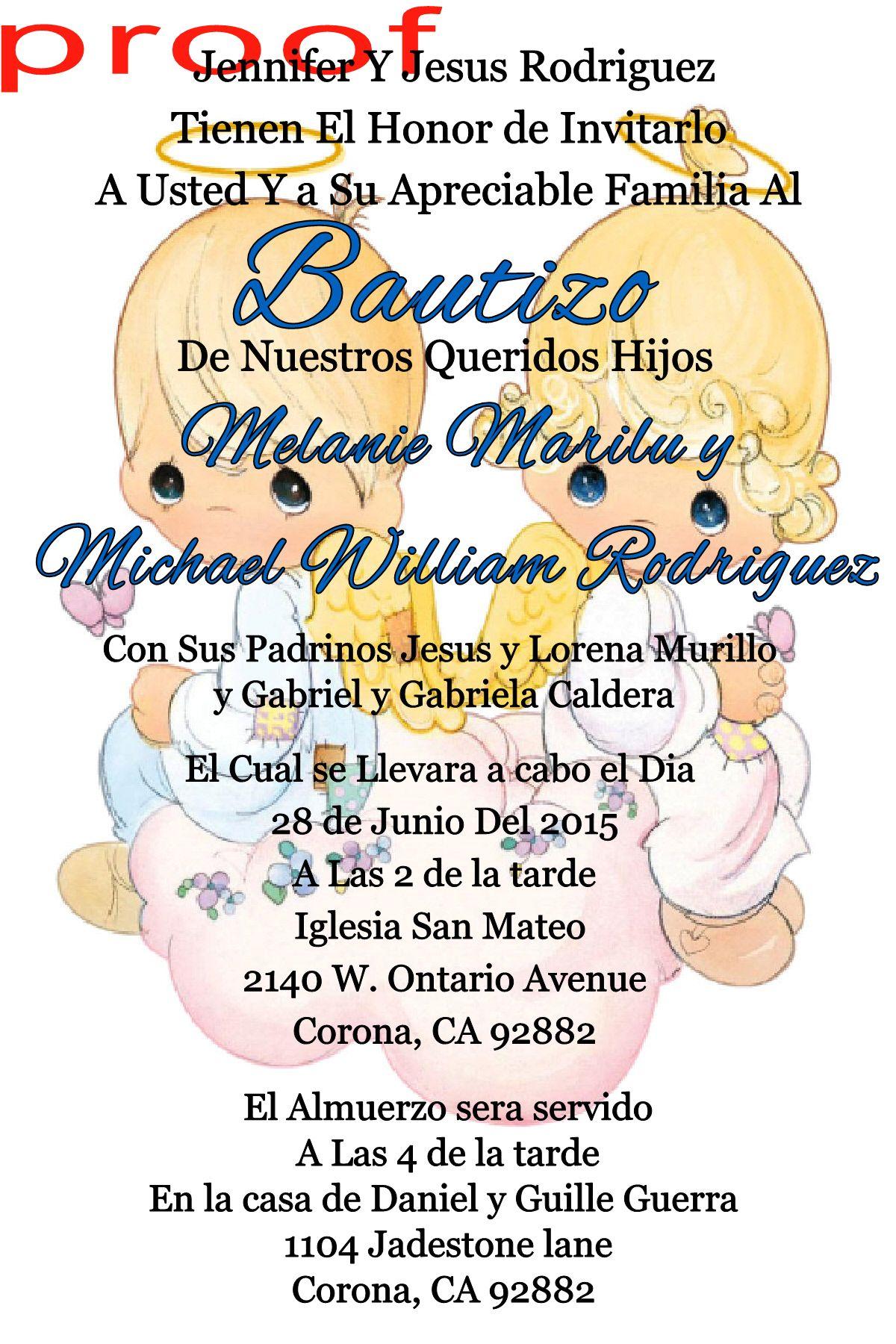 Precious Moments Spanish Baptism & Birthday Invitation - To place ...
