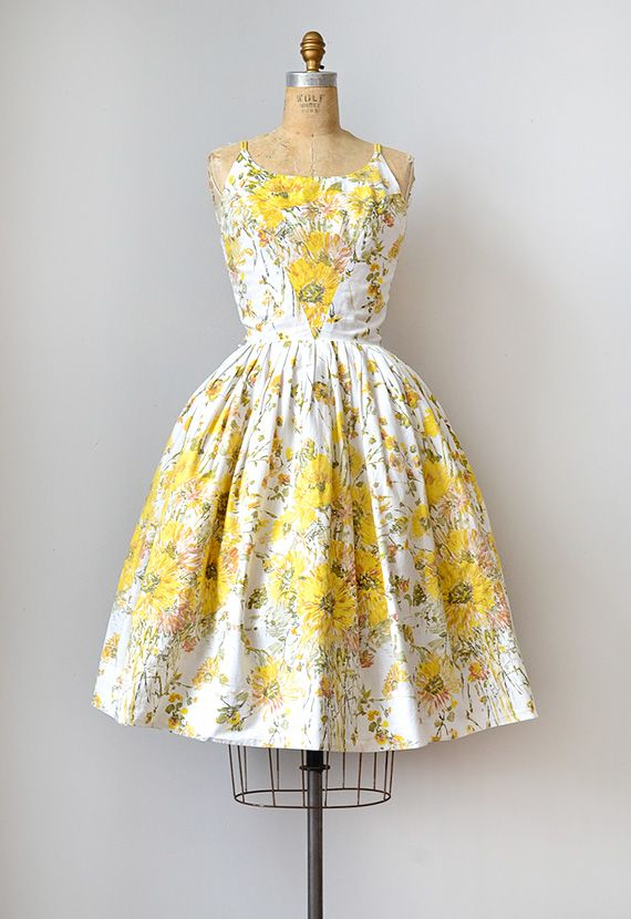 Vintage Sunflower Dress 1950s L I Love The Triangular