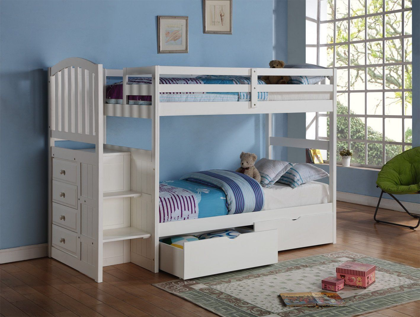 eva white twin bunk bed with stairs and storage