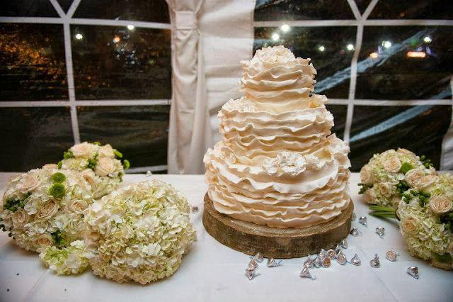 Ivory Ruffled Wedding Cake