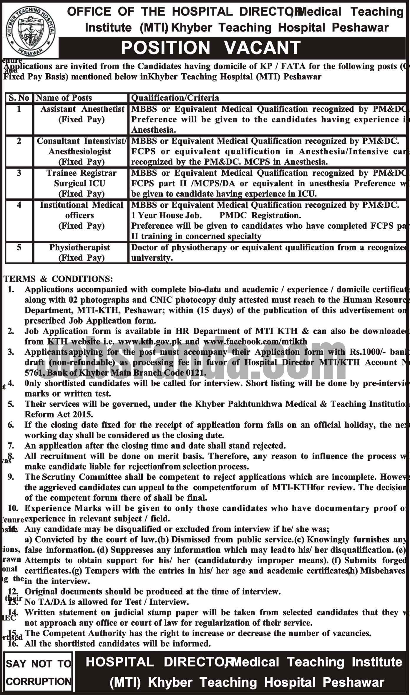 Medical Teaching Institution Mti Jobs  In Peshawar For