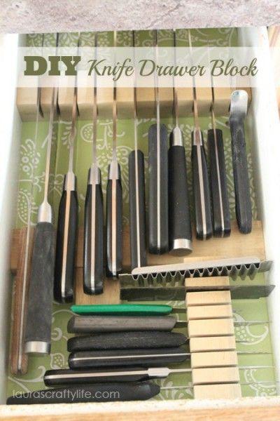 Diy Knife Drawer Block Knife Drawer Kitchen Knife Storage Diy