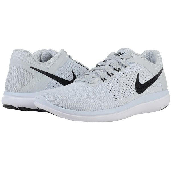 separation shoes 52206 f6f4c Nike Flex 2016 RN (Pure Platinum White Black) Women s Running Shoes (€75) ❤  liked on Polyvore featuring shoes, athletic shoes, nike, lightweight running  ...