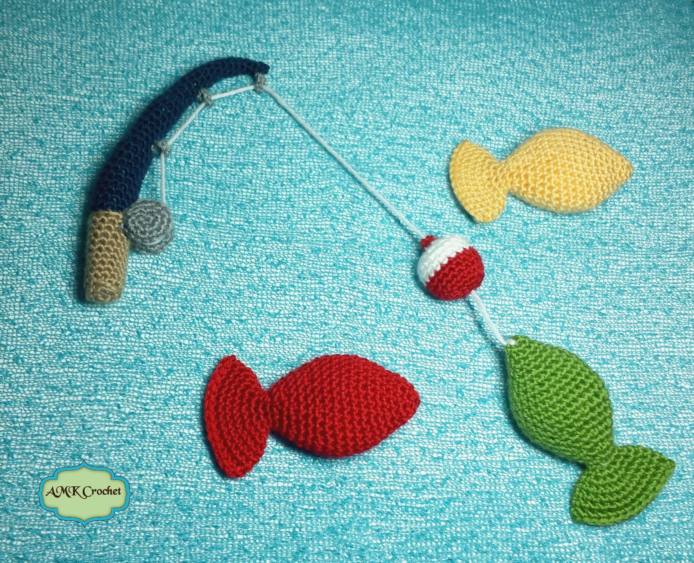 Fishing Pole Crochet Pattern with Fish Plush Toy for Photo Prop ...