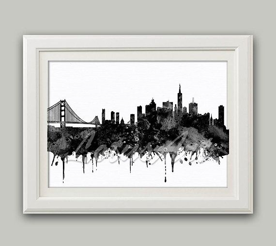 San Francisco Black White Watercolor Print San Francisco Wall Art City  Skyline San Francisco Poster Travel