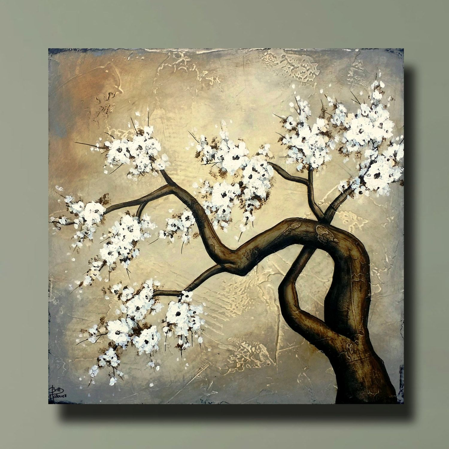 Beautiful Flowering Tree Cherry Blossom Painting with Heavy Texture ...
