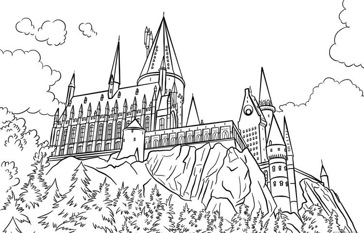 Hogwarts Castle Coloring Pages Coloring Pages For Kids Harry