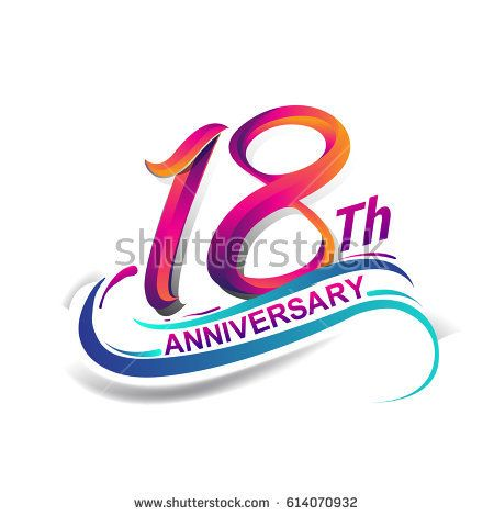 18th Anniversary Celebration Logotype Blue And Red Colored Eighteen