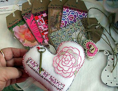 White Hand made Fabric Heart Large Flower writing Key Valentine anytime by Anita £5