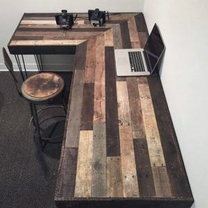 Diy Pallet Rustic L Shaped Desk Made From Reclaimed Wood Project Ideas