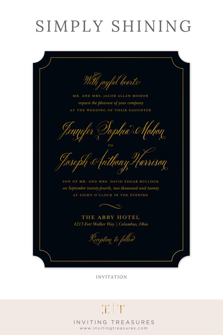 simply shining foil pressed invitation in 2018 elegant invitations