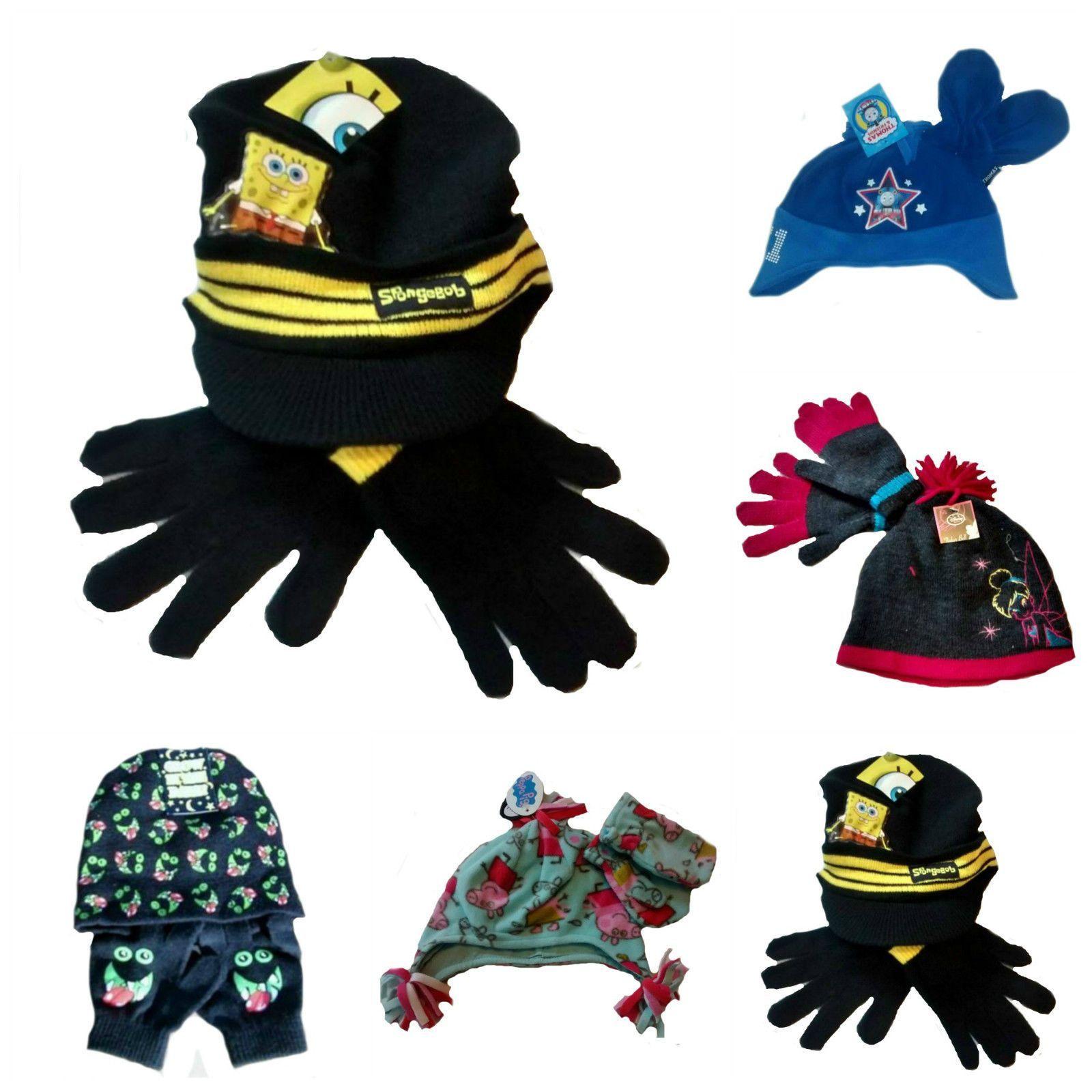 Boys Girls Baby Thomas Tinkerbell Peppa Spongebob age 2-8 mittens gloves hat