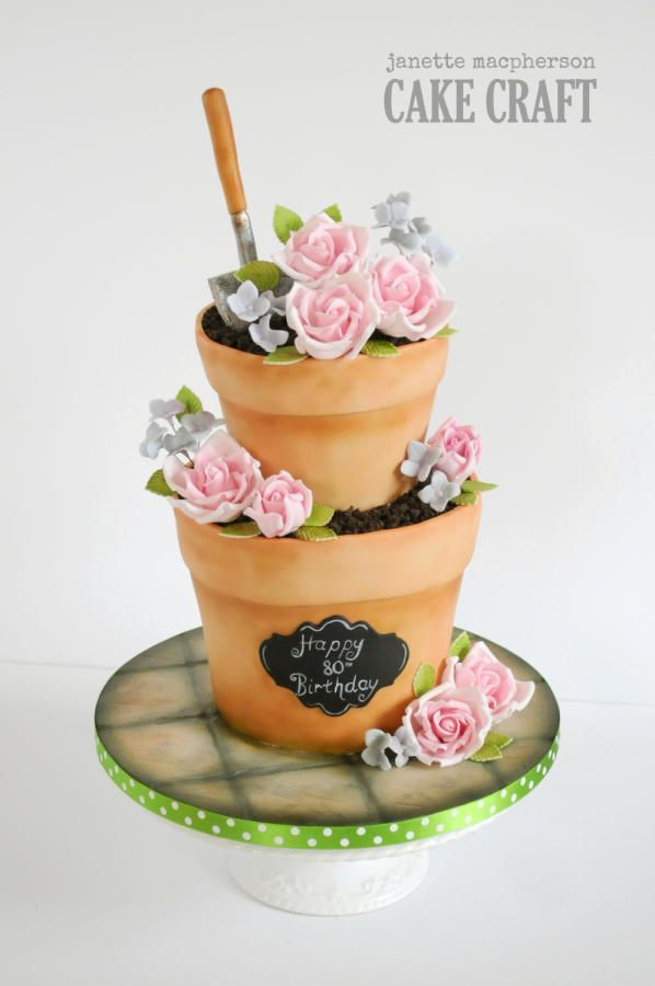 Stacked flower pots birthday cake Cake by Janette MacPherson