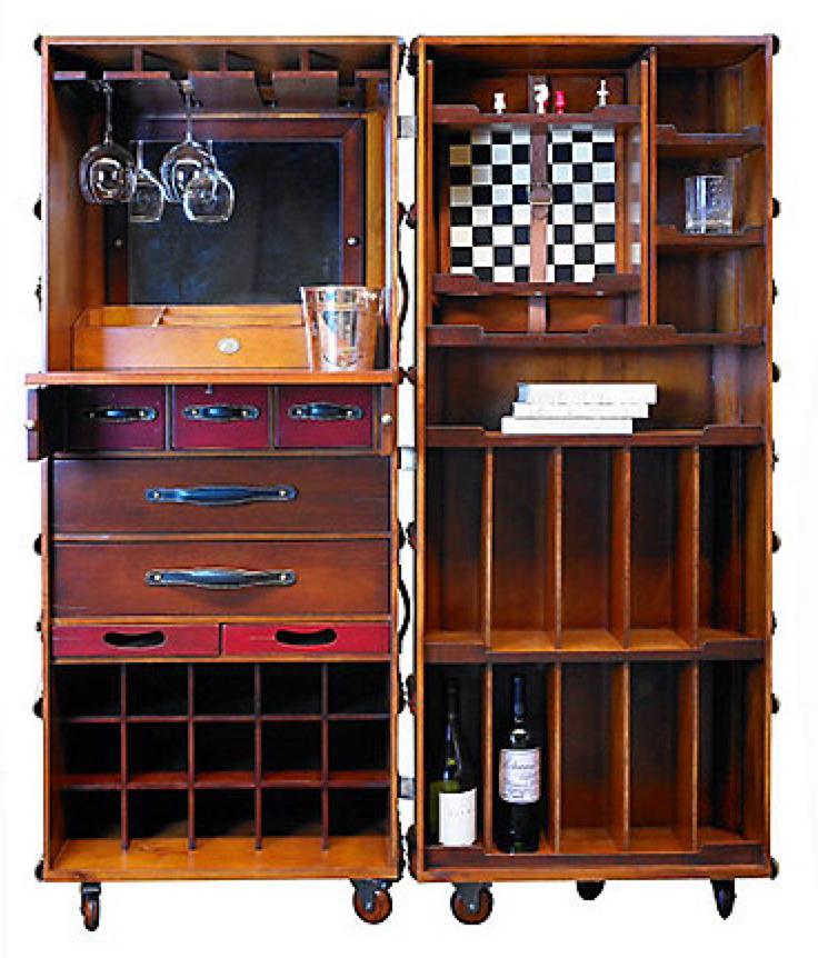 Stateroom Bar In Ivory Or Black Steamer Trunk Cabinet