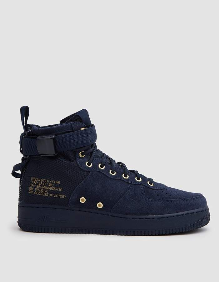 huge discount fb3a5 e439f Nike SF Air Force 1 Mid Shoe in Obsidian Obsidian Black