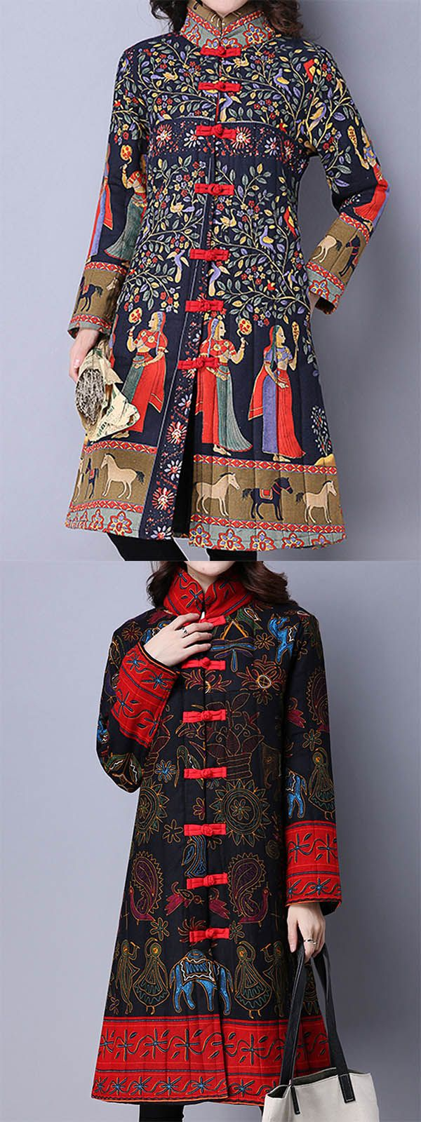 Gracila vintage women chinese frog stand collar printed long sleeve