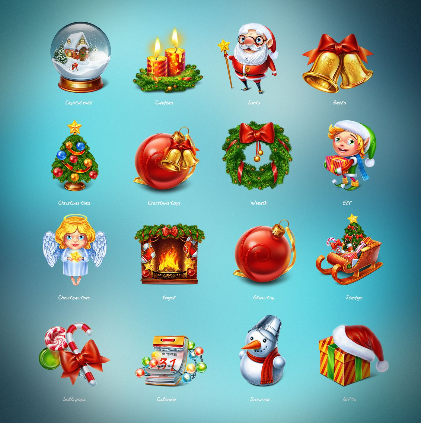 I present to you a Christmas set of 15 cute icons that can