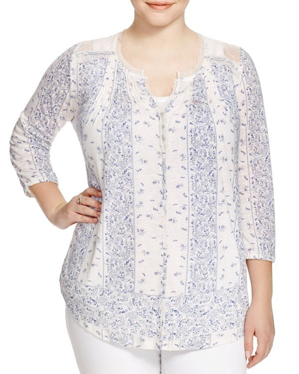 Lucky Brand Plus Milan Lace Trimmed Printed Top