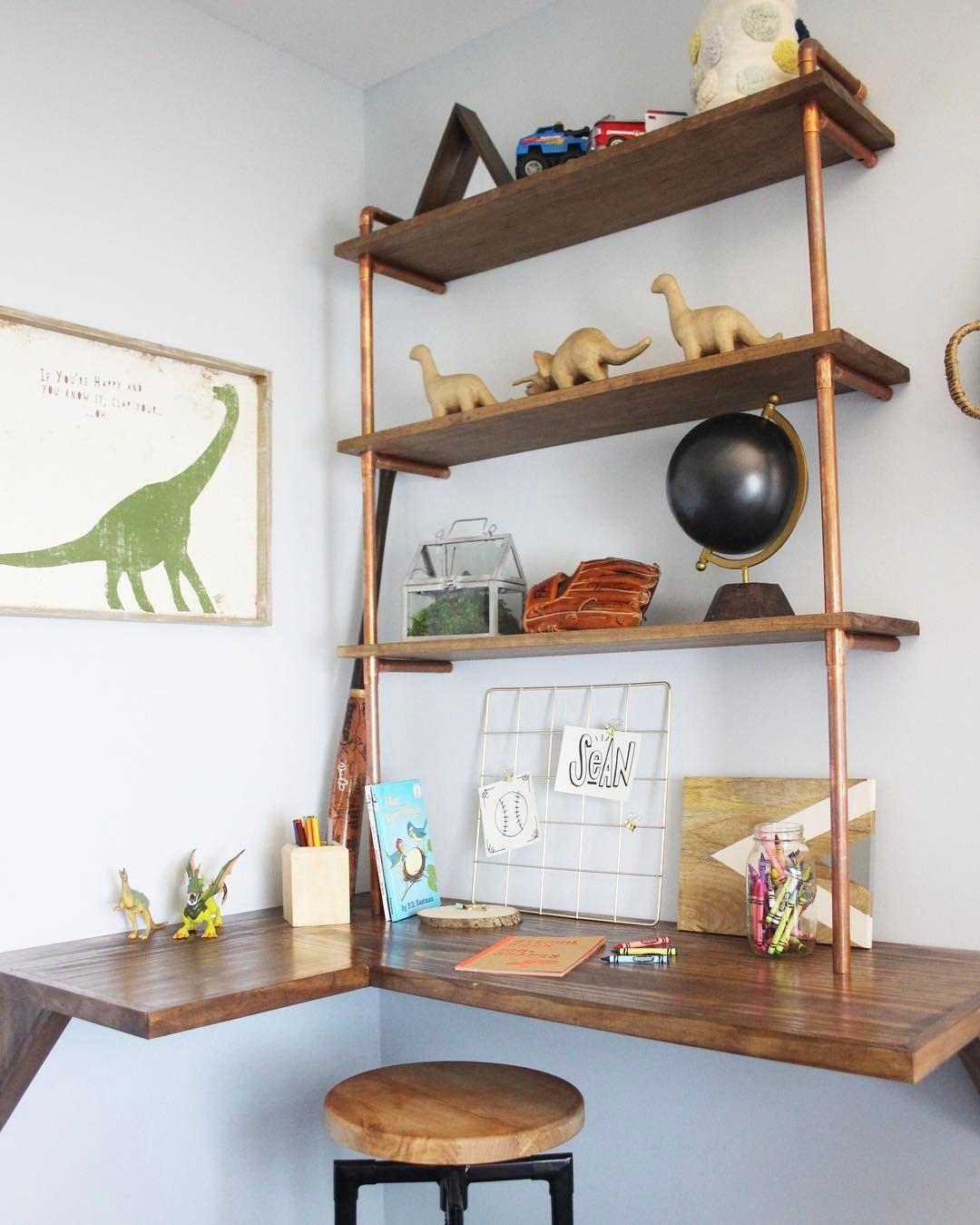 e9d86ed91c Pin by Nicole Lyon on Shelves and How to Style Them in 2019 | Bedroom desk,  Diy pipe shelves, Floating shelves kitchen