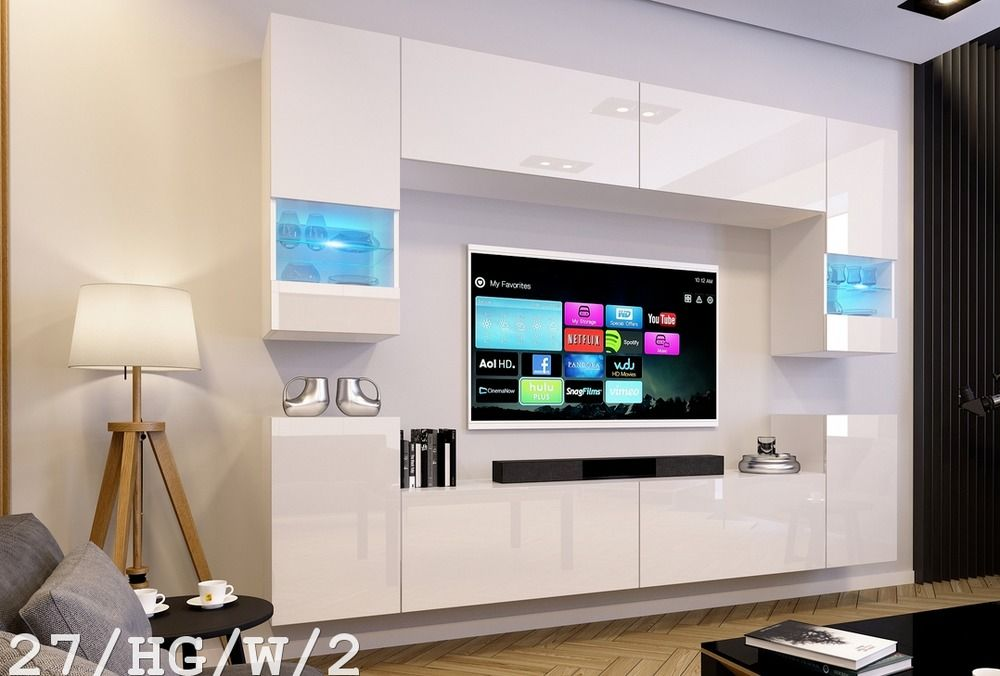 Modern Living Room Furniture Set TV Wall Unit Entertainment Stand ...