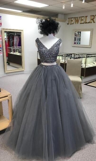 a7c3bb644e6 Two Piece V Neck Beads Grey Long Prom Dress from wendyhouse