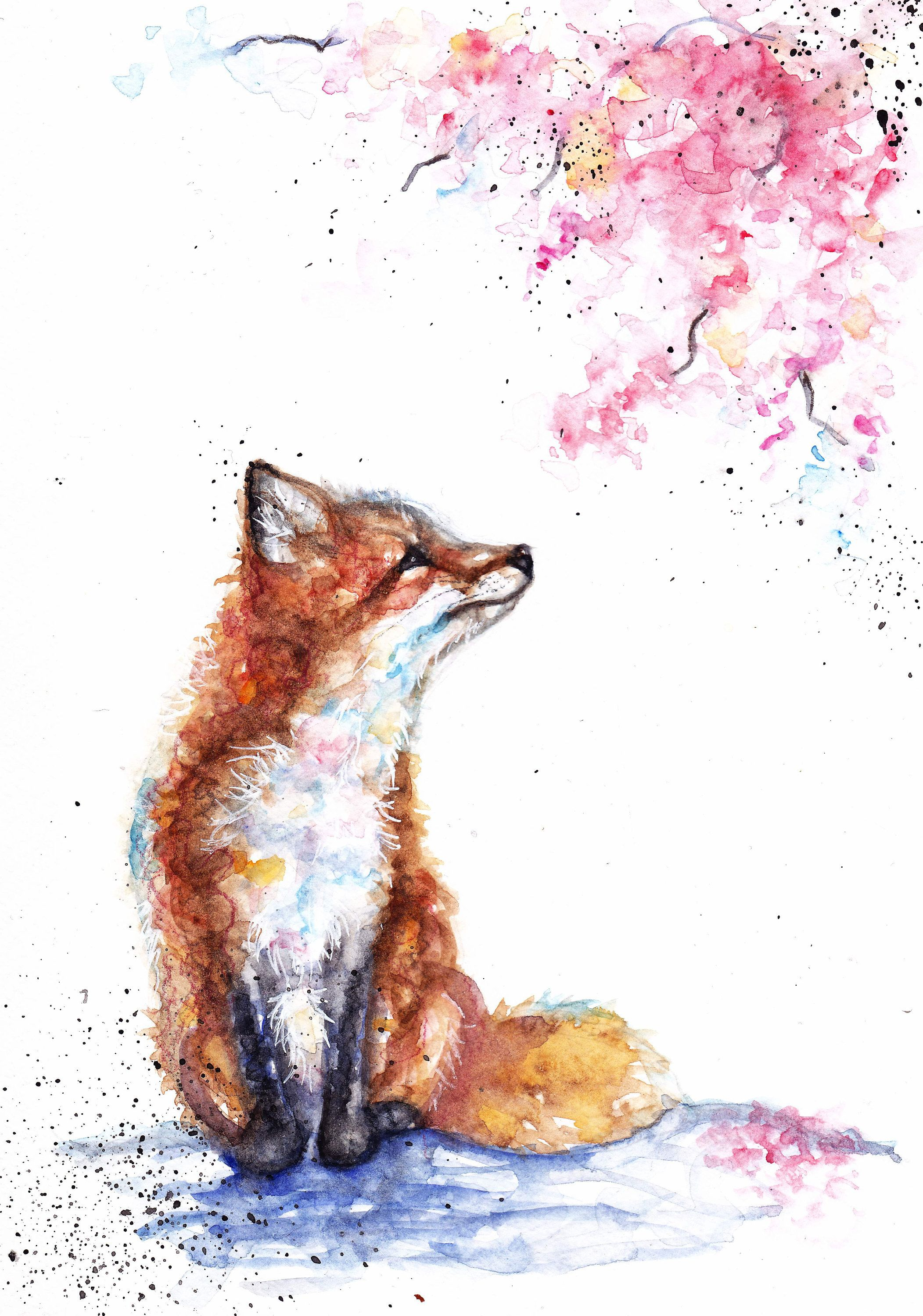 fox and blossom springfoxflowersbrownpink