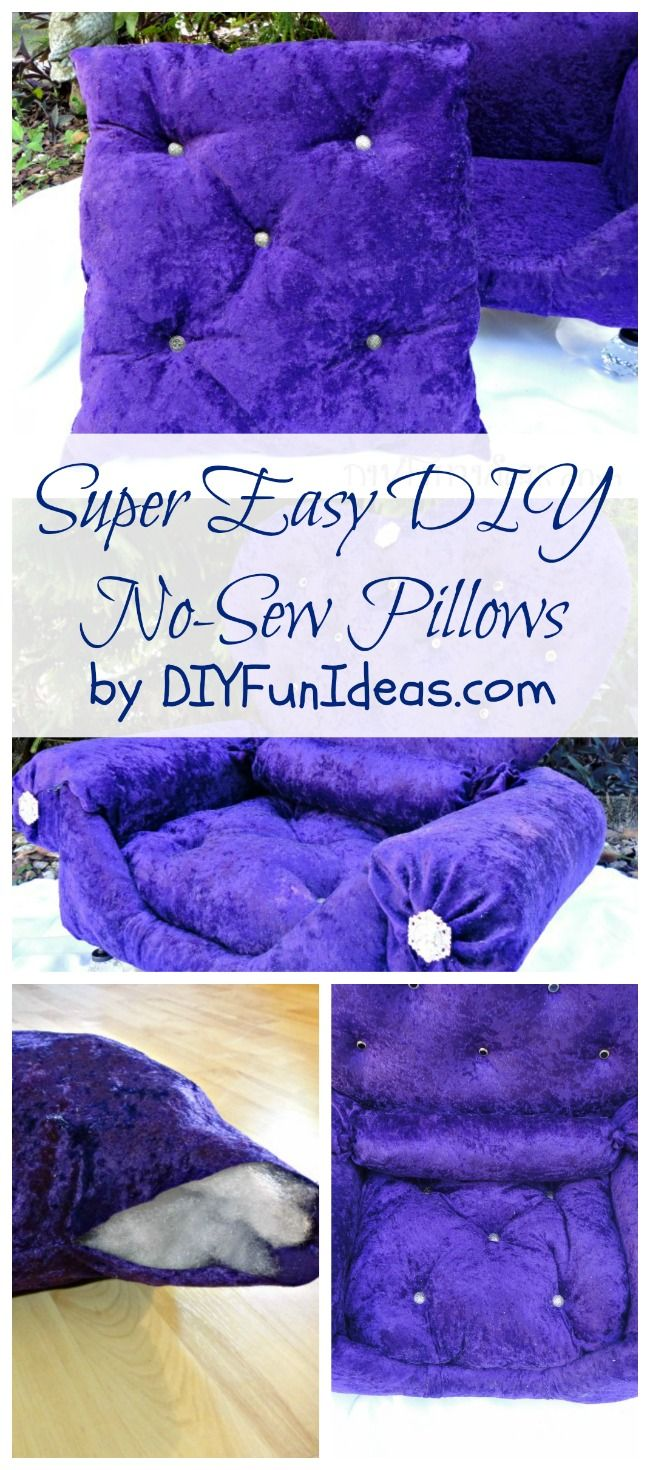 MAKE THESE SUPER EASY NO-SEW PILLOWS IN 5 MINUTES!!! YES, 5 MINUTES! Plus more fun DIYs at DIYFUNIDEAS.COM