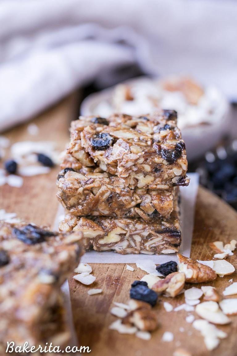 No-Bake Trail Mix Granola Bars (Paleo + Vegan)