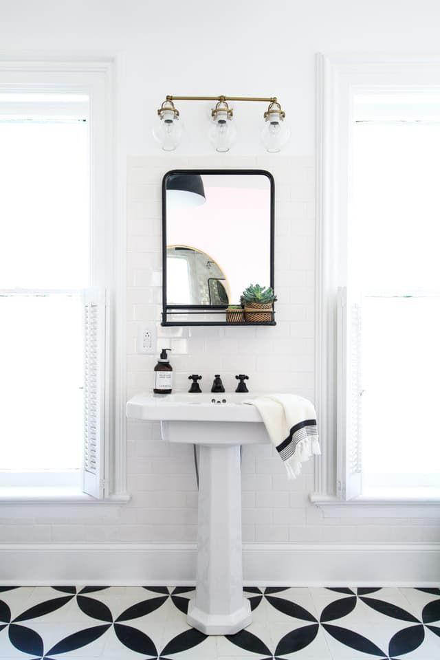 How To Hang A Bathroom Mirror On Ceramic Tile Bathroom Mirror With Shelf Small Bathroom Mirrors Bathroom Mirrors Diy