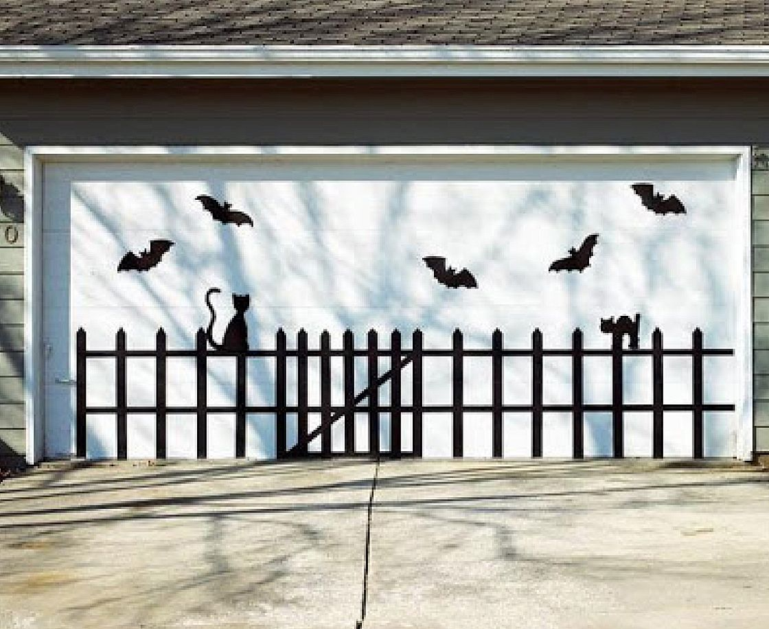 Boring garage transformed in a batty way! Autumn/Halloween - Halloween Garage Door Decorations