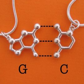 Way better friendship necklaces than a lame heart! Brought together by hydrogen bonds.