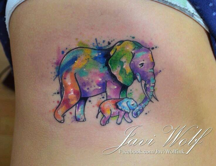 So Cute Mommy And Me Tattoo Watercolor Elephant Tattoos