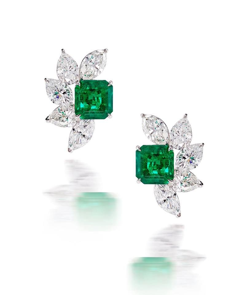 b215d7376 Classic Emerald and Diamond Earrings... Columbian Emeralds Marquise and  Pear Shaped diamonds.