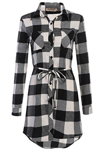 05fb849e45 HOTOUCH Womens Black White Plaid Grid Checked Long Sleeve Shirt Dress --  Want additional info  Click on the image.