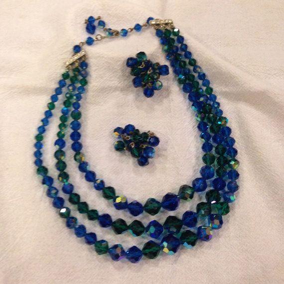 Vintage Laguna Necklace Earring Set Bright Blue Emerald Green Stones Three Strand Waterfall Nec Vintage Costume Jewelry Waterfall Necklace Necklace Earring Set