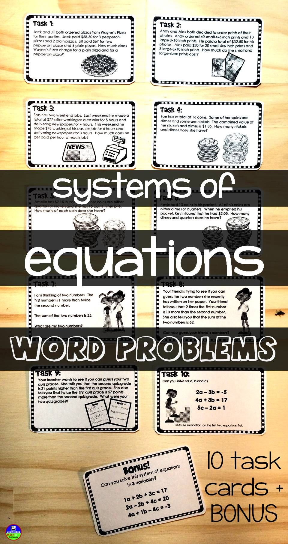 Solving systems of equations word problems in 2018 math grades 7 systems of equations word problems 10 task cards bonus ibookread Read Online