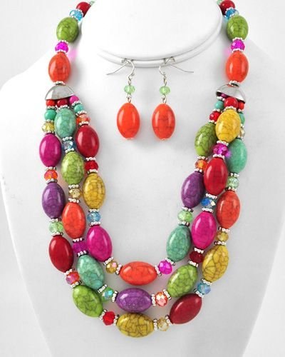 Stone Beads Layered Necklace Set