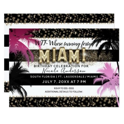 Gold Miami Glitter Glam Palm Trees Birthday Party Card