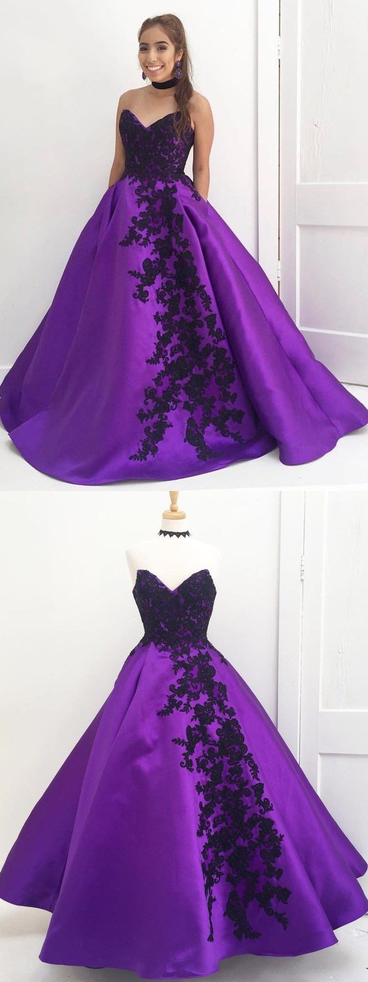 Sweetheart purple long quinceanera dress with black appliques